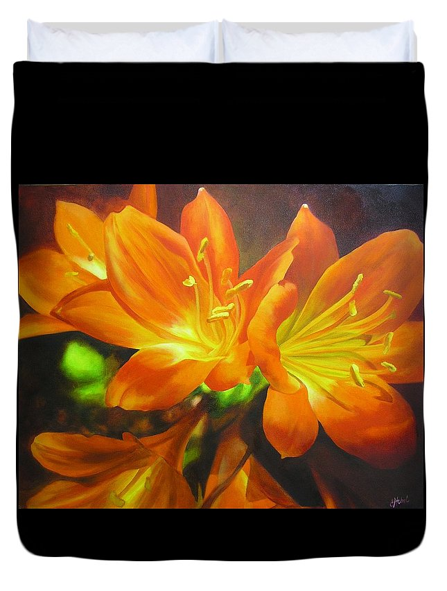 Flower Painting Duvet Cover featuring the painting Clivias by Chris Hobel