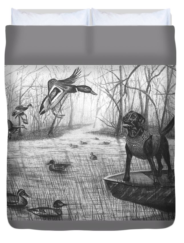 Cloaked Duvet Cover featuring the drawing Cloaked by Peter Piatt