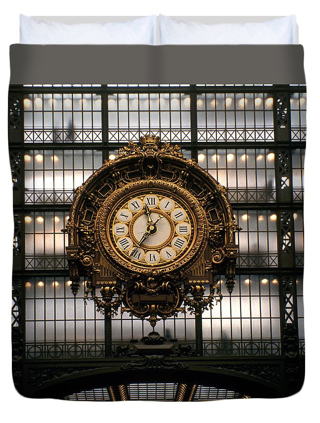 Color Photograph Duvet Cover featuring the photograph Clock Musee D'orsay by Dan Albright