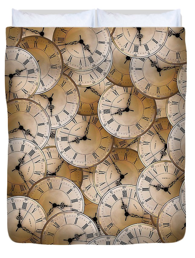 Clock Duvet Cover featuring the photograph Clock by Stefano Fossiant Sini