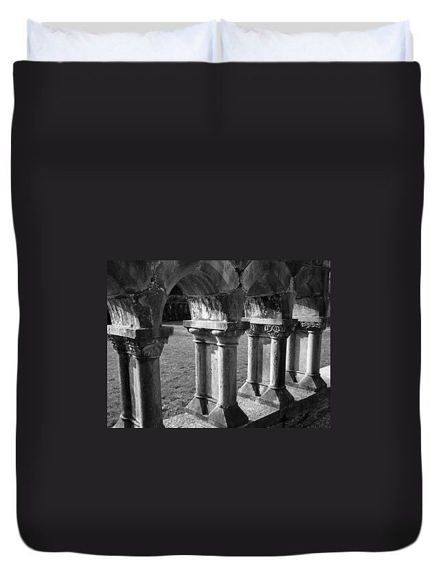 Irish Duvet Cover featuring the photograph Cloister At Cong Abbey Cong Ireland by Teresa Mucha