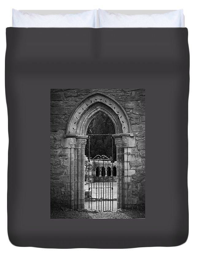 Irish Duvet Cover featuring the photograph Cloister View Cong Abbey Cong Ireland by Teresa Mucha