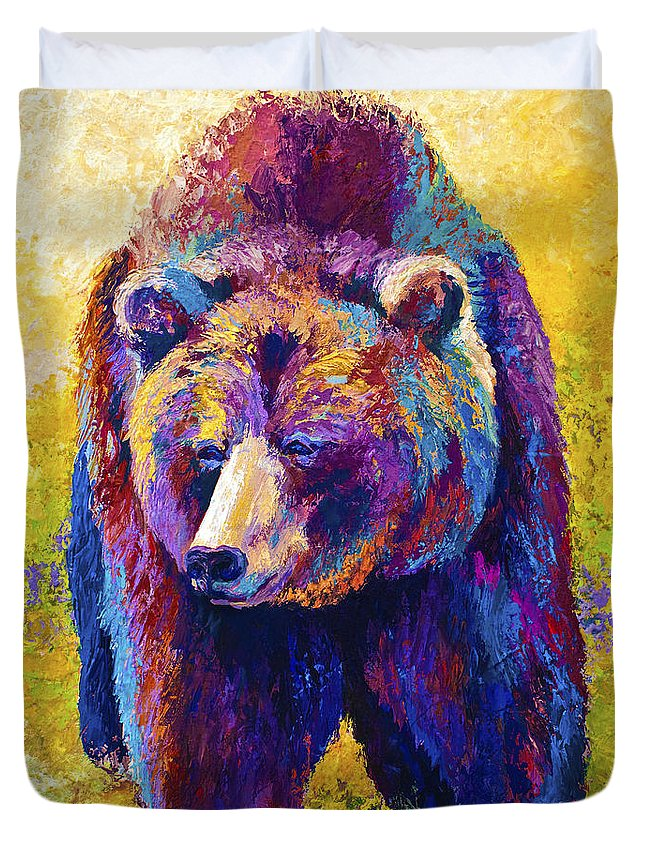 Western Duvet Cover featuring the painting Close Encounter - Grizzly Bear by Marion Rose