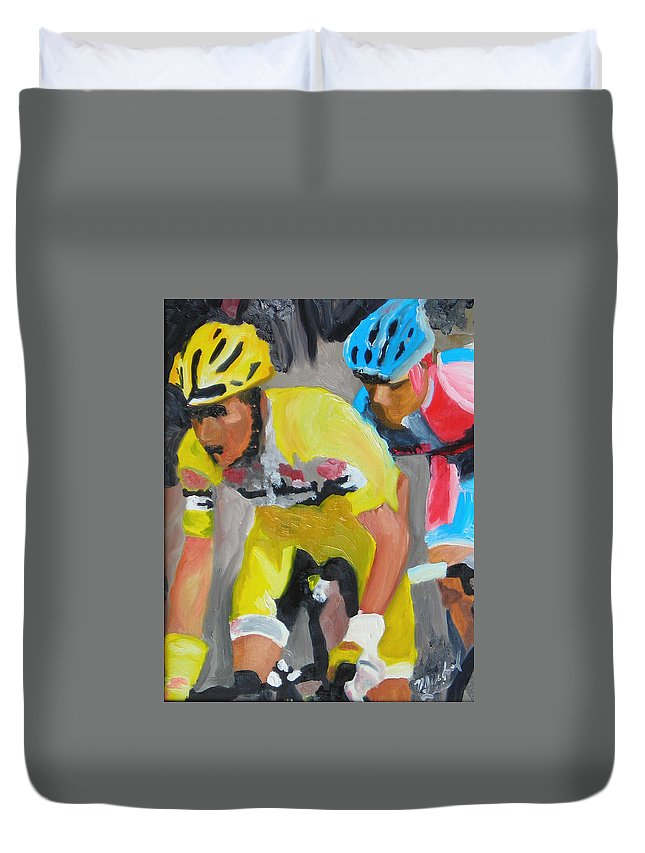 Cycling Duvet Cover featuring the painting Close Race by Michael Lee