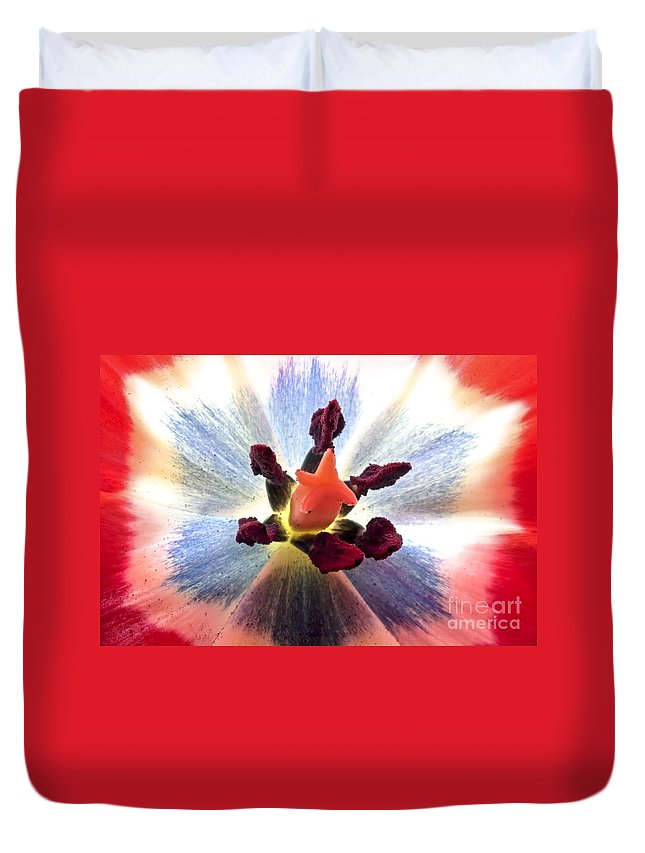 Nature Duvet Cover featuring the mixed media Close Up From A Tulip Flower by Nisangha Ji