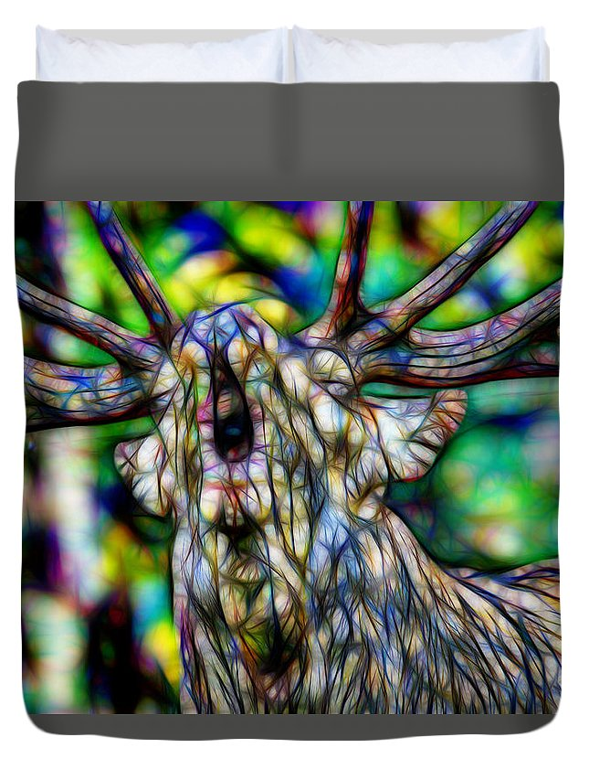 Close Up Of Huge Male Elk Bugling Duvet Cover featuring the painting Close Up Of Huge Male Elk Bugling by Jeelan Clark