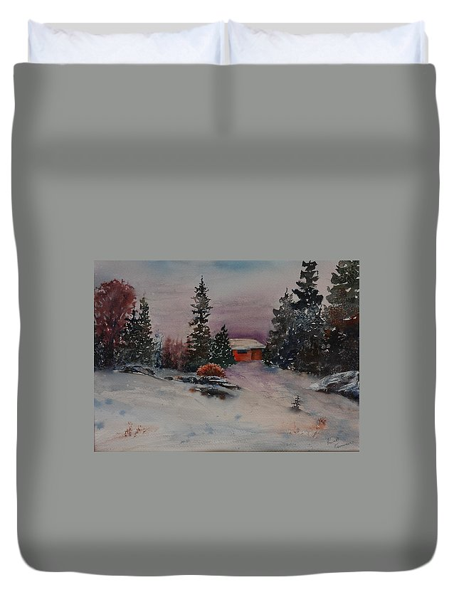 Cottage Duvet Cover featuring the painting Closed For The Season by Ruth Kamenev