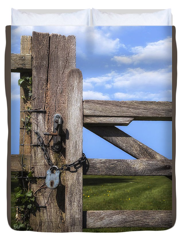 Gate Duvet Cover featuring the photograph Closed Paddock by Joana Kruse