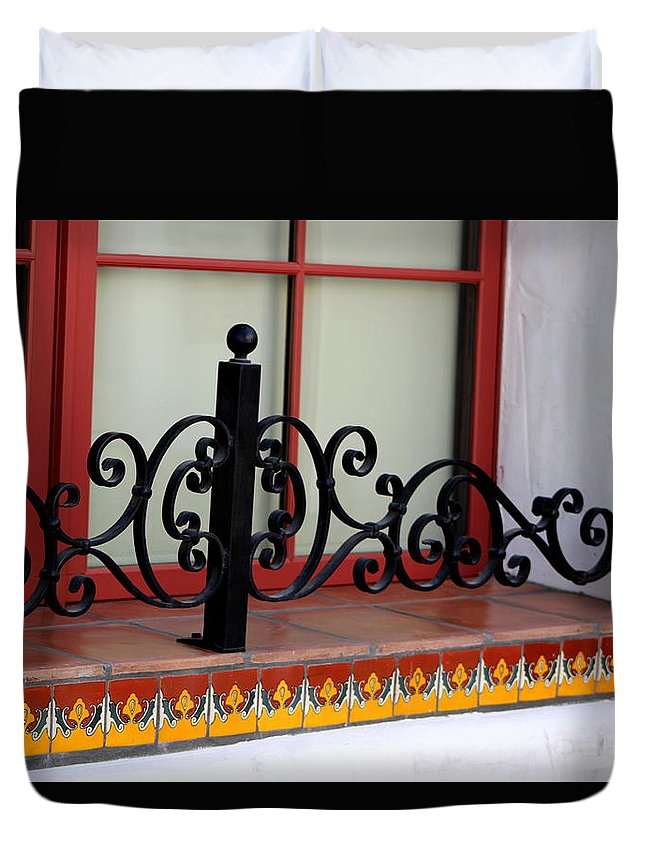 Close Up Of Window Duvet Cover featuring the photograph Closeup of Window Decorated with Terracotta Tiles and Wrought Iron Photograph by Colleen by Colleen Cornelius