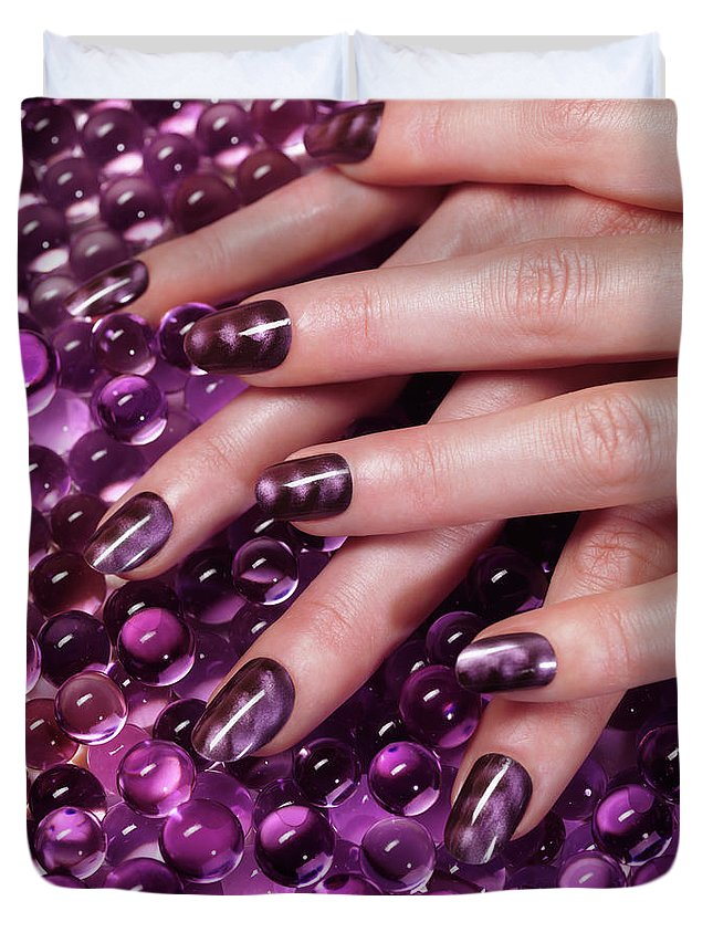 Manicure Duvet Cover featuring the photograph Closeup Of Woman Hands With Purple Nail Polish by Oleksiy Maksymenko