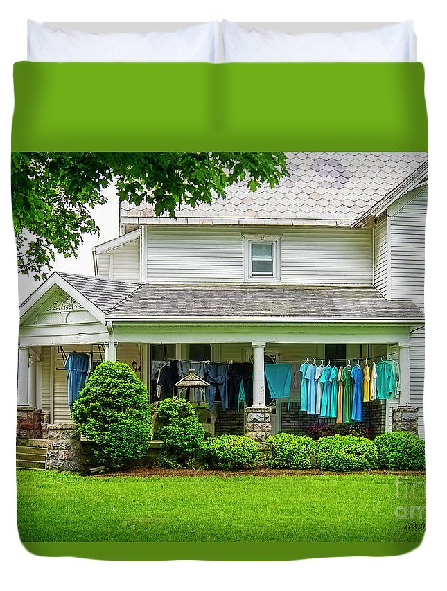Clothes Drying Duvet Cover featuring the photograph Clothes On The Front Porch by David Arment