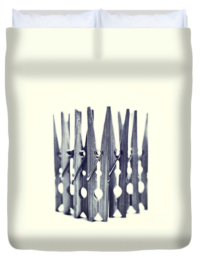 Clothespin Duvet Cover featuring the photograph Clothespin by Priska Wettstein