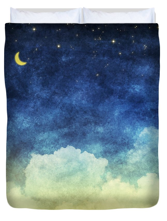 Art Duvet Cover featuring the painting Cloud And Sky At Night by Setsiri Silapasuwanchai