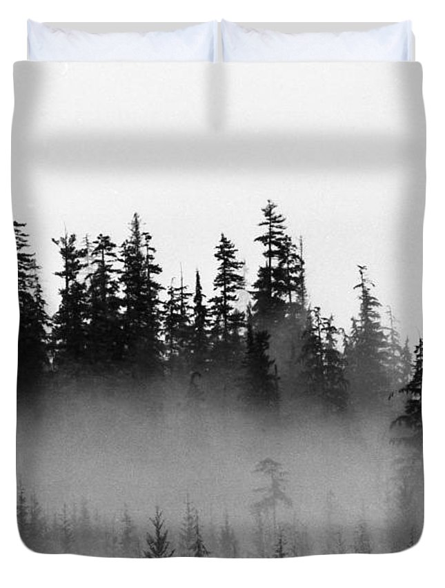 Abstract Duvet Cover featuring the photograph Cloud And Trees by Lyle Crump