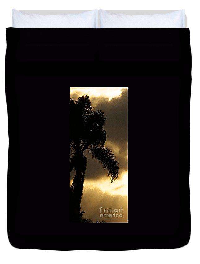 Palm Duvet Cover featuring the photograph Cloud Break by Linda Shafer