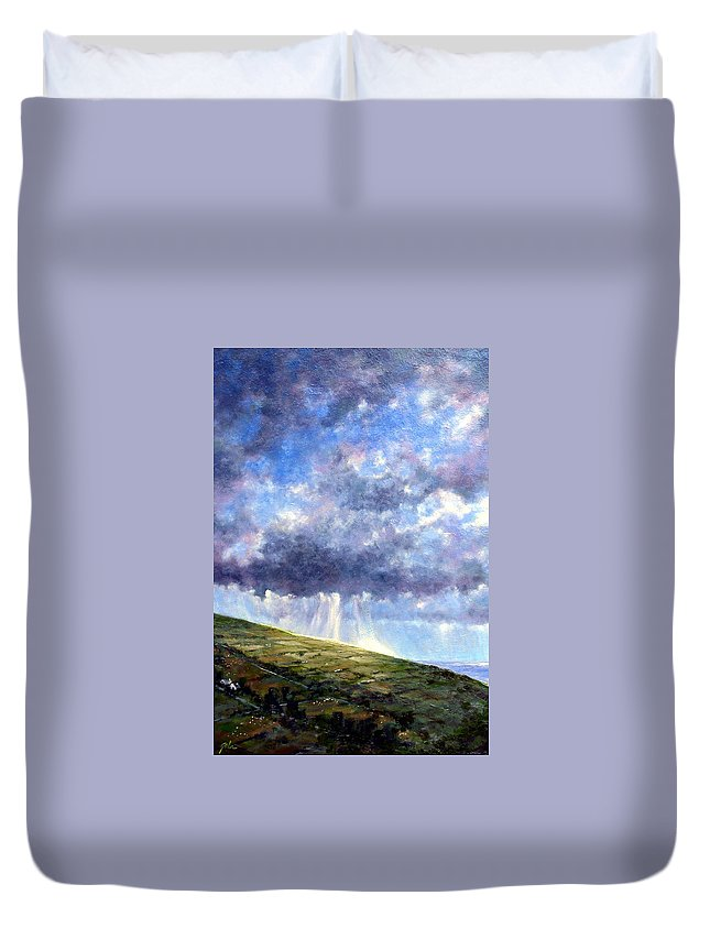 Oil Painting Duvet Cover featuring the painting Cloud Burst Ireland by Jim Gola