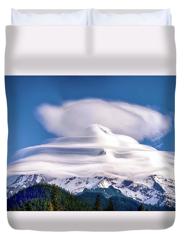 Mt Hood Duvet Cover featuring the photograph Cloud Cap by Craig Voth