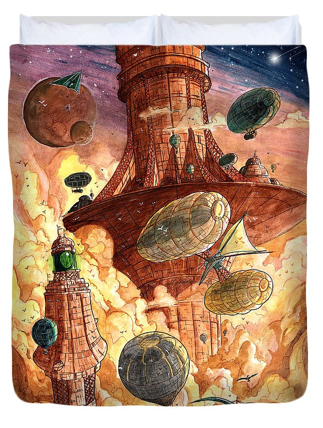 Steampunk Duvet Cover featuring the painting Cloud City by Luis Peres