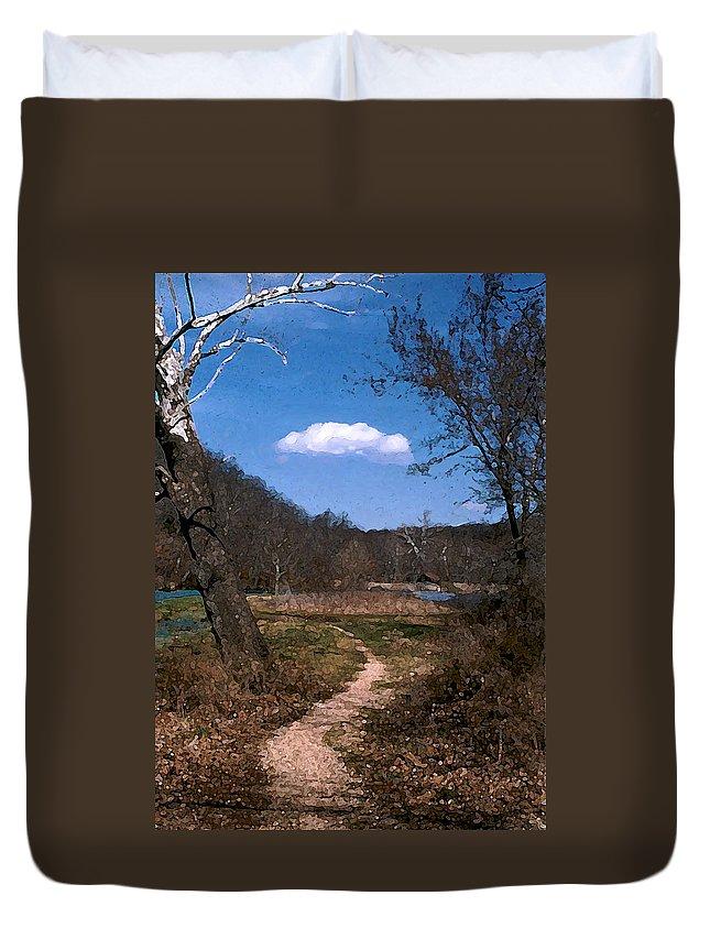 Landscape Duvet Cover featuring the photograph Cloud Destination by Steve Karol