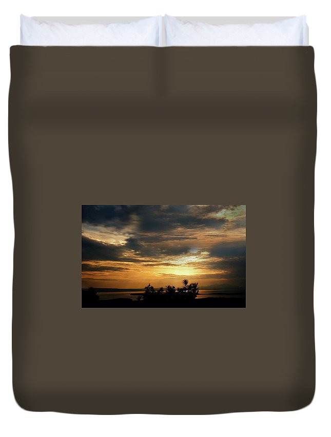 Photo Duvet Cover featuring the photograph Cloud Landscape. On The Aegean Sea. by Yuri Hope