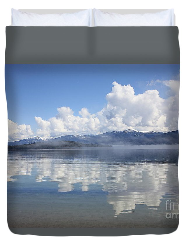 Clouds Duvet Cover featuring the photograph Cloud Reflection On Priest Lake by Carol Groenen