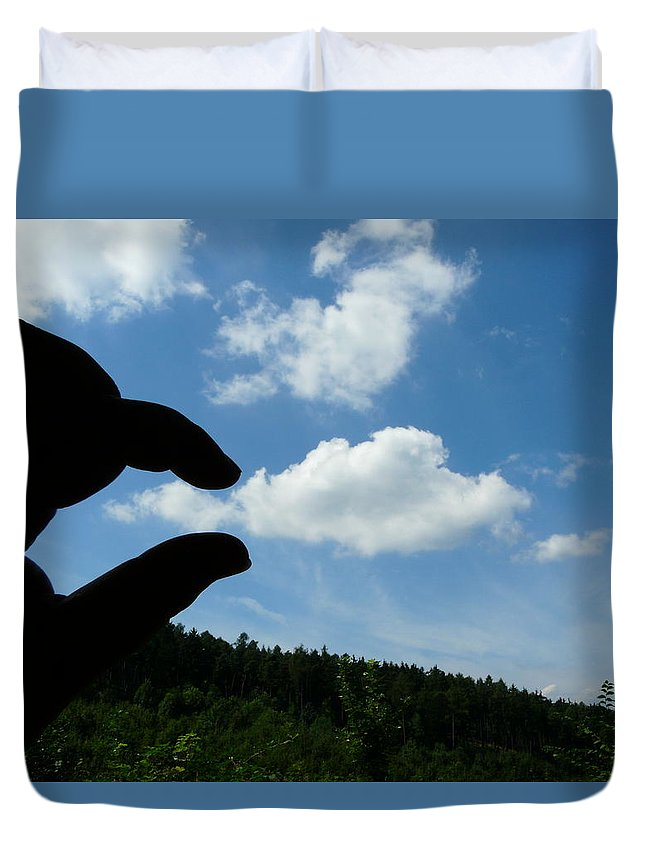 Cloud Duvet Cover featuring the photograph Cloud Squeeze by Valerie Ornstein