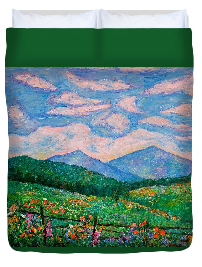 Kendall Kessler Duvet Cover featuring the painting Cloud Swirl over The Peaks of Otter by Kendall Kessler