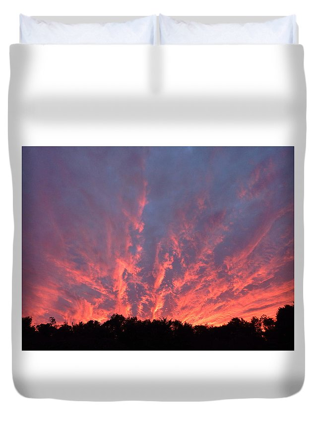Landscape Duvet Cover featuring the photograph Clouds 55 by George Ramos
