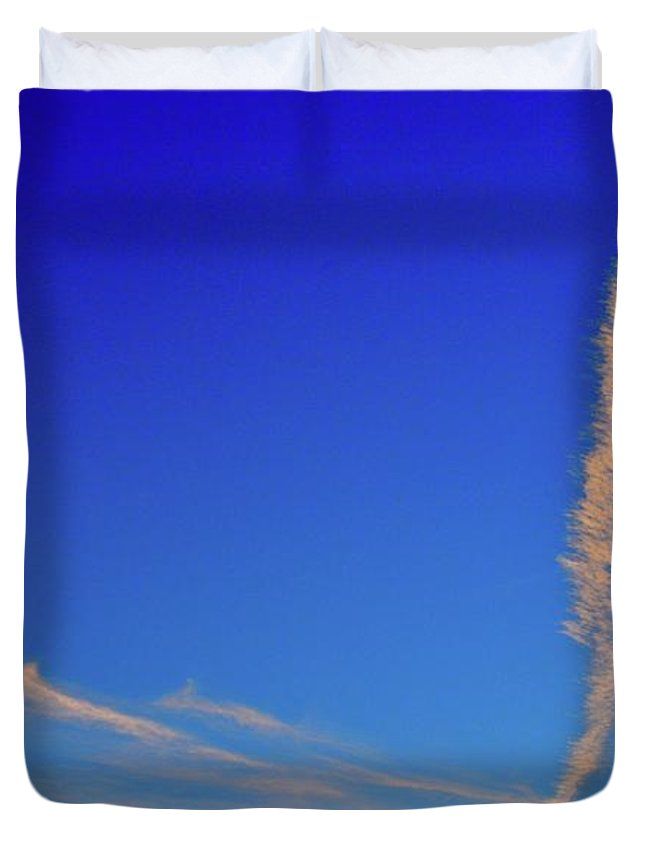 Sky Duvet Cover featuring the photograph Clouds And Contrail Two by Lyle Crump