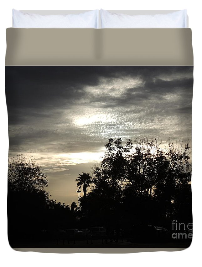 Palm Duvet Cover featuring the photograph Clouds And Silhouetted Trees by Jim Williams Jr