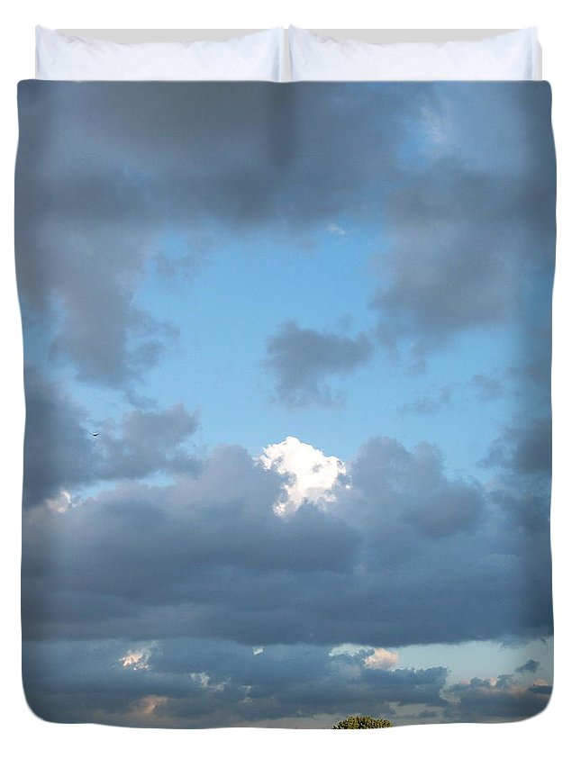 Landscape Duvet Cover featuring the photograph Clouds In A Bright Sky by Michelle Miron-Rebbe