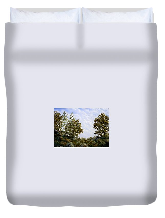 Landscape Duvet Cover featuring the painting Clouds In Foothills by Frank Wilson