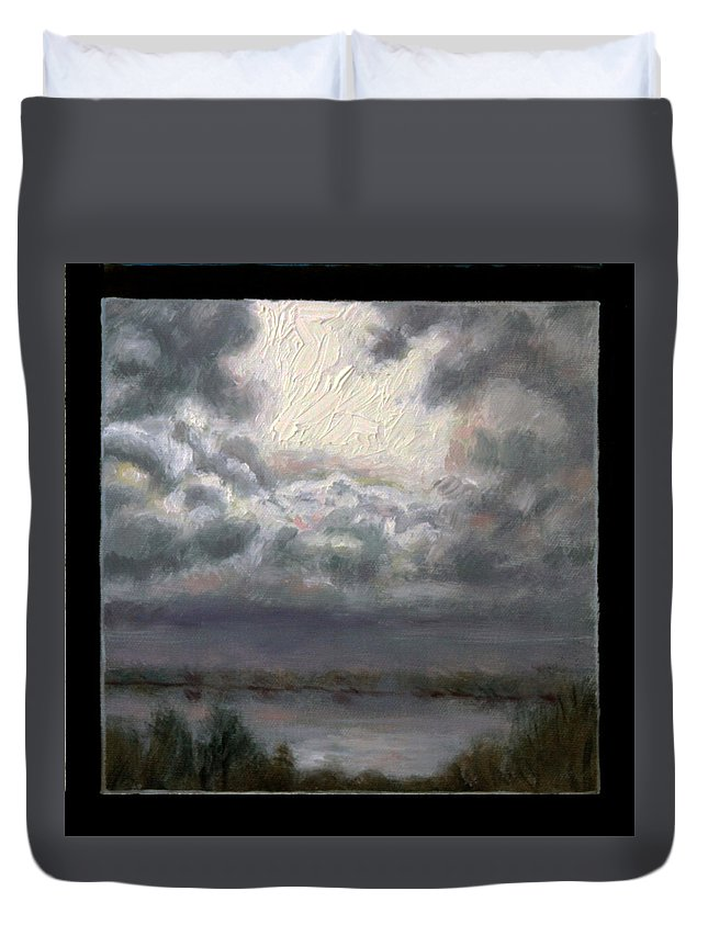 Clouds Over Lake Duvet Cover featuring the painting Clouds Number Seven by John Lautermilch