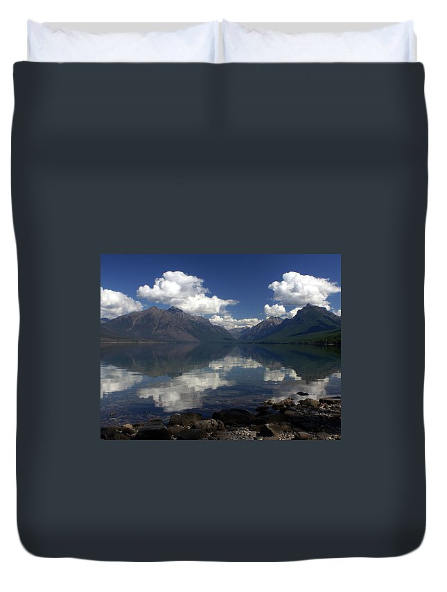 Reflections Duvet Cover featuring the photograph Clouds On The Water by Marty Koch