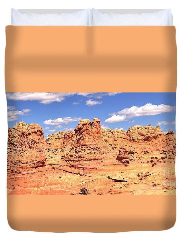 Vermilion Cliffs Panorama Duvet Cover featuring the photograph Clouds Over Candyland by Adam Jewell