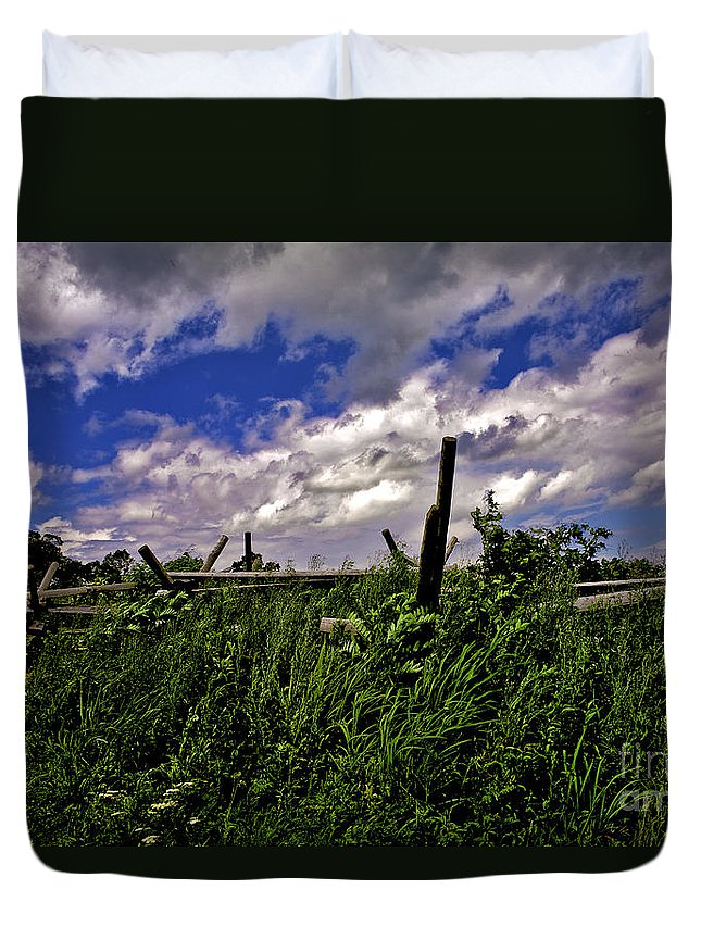 Field Duvet Cover featuring the photograph Clouds Over Gettysburg by Madeline Ellis