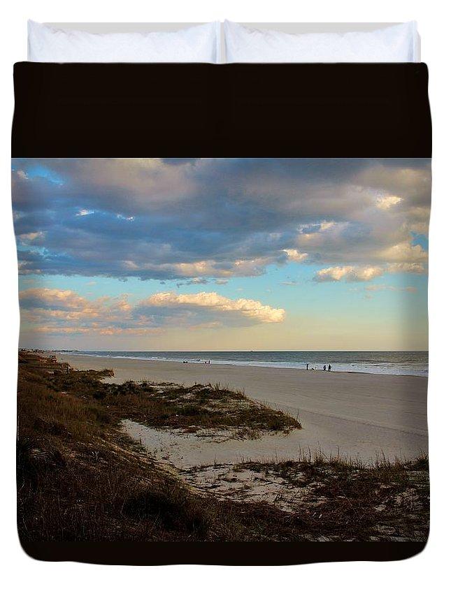 Holden Beach Duvet Cover featuring the photograph Clouds Over Holden Beach by Cynthia Guinn