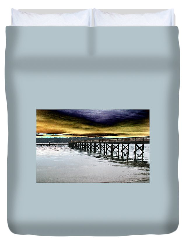 Clouds Duvet Cover featuring the photograph Clouds Over Illahee by Tim Allen