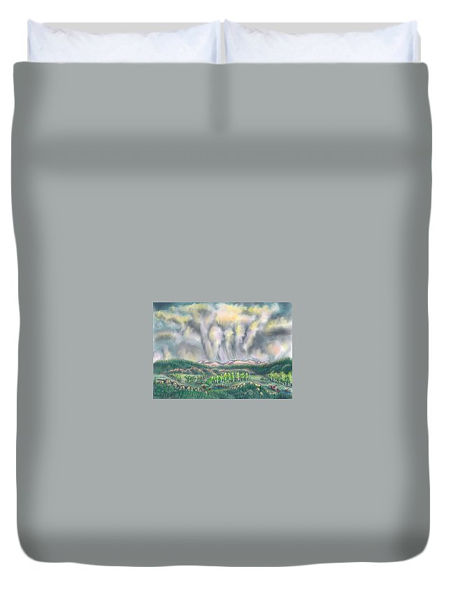 Landscape Duvet Cover featuring the drawing Clouds Over Medicine Bow Peak by Dawn Senior-Trask