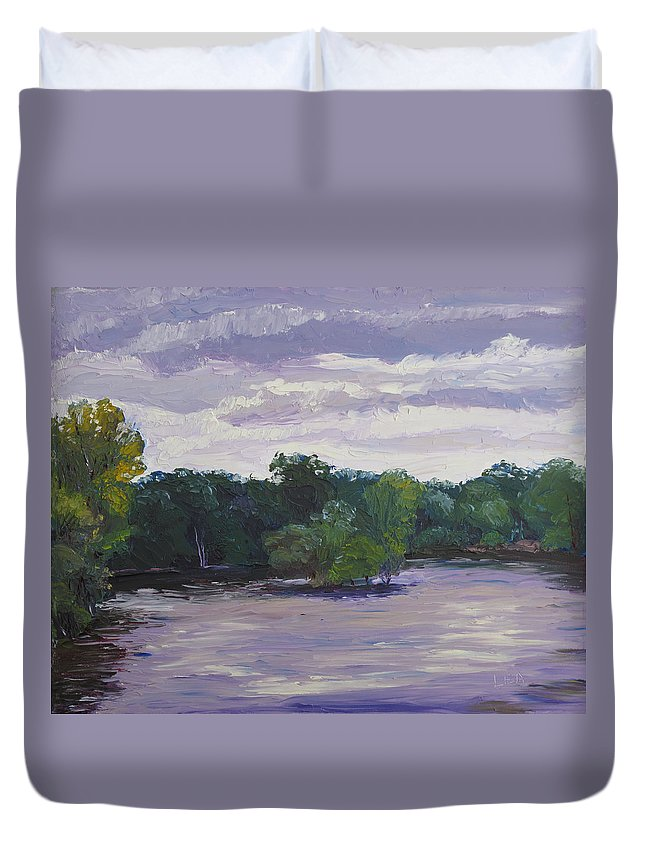 Landscape Duvet Cover featuring the painting Clouds Over The Lake by Lea Novak