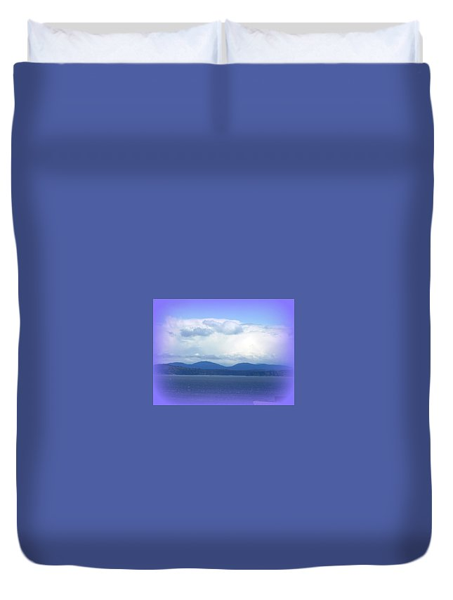 Clouds Duvet Cover featuring the photograph Clouds Puget Sound by Maro Kentros