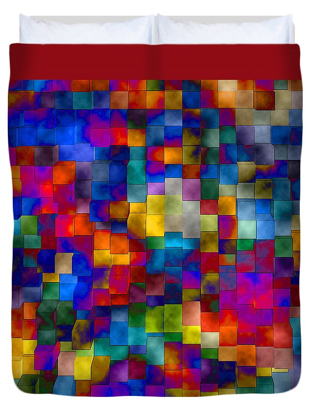 Abstract Duvet Cover featuring the digital art Cloudy Cubes by Ruth Palmer