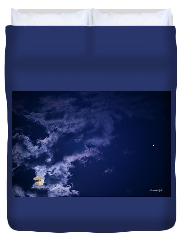 Full Moon Duvet Cover featuring the photograph Cloudy Moon With Jupiter by Karen Slagle