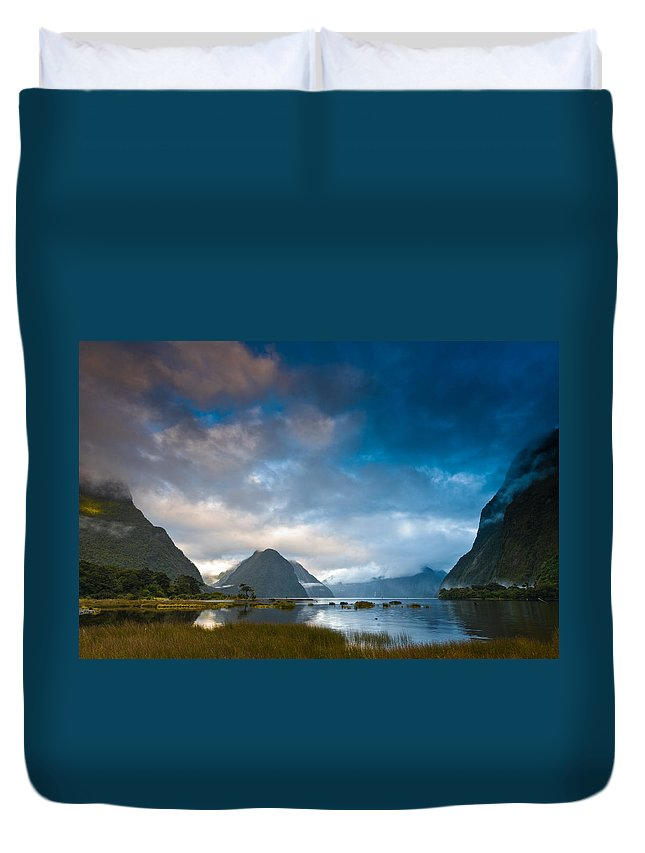 Background Duvet Cover featuring the photograph Cloudy Morning At Milford Sound At Sunrise by U Schade