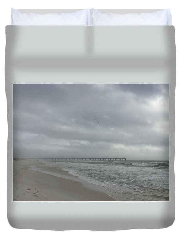 Landscape Duvet Cover featuring the photograph Cloudy Sea-fog Pier by Kenneth Christenson