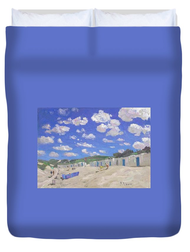 Summer Duvet Cover featuring the painting Clouds Above The Sunny Beach by Ben Rikken