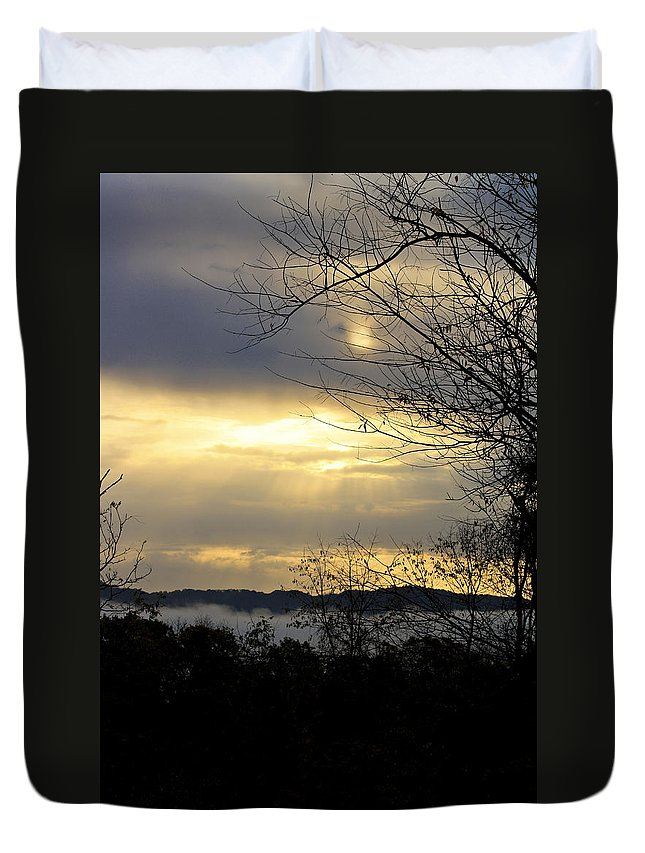 Sunrise Duvet Cover featuring the photograph Cloudy Sunrise 2 by Teresa Mucha