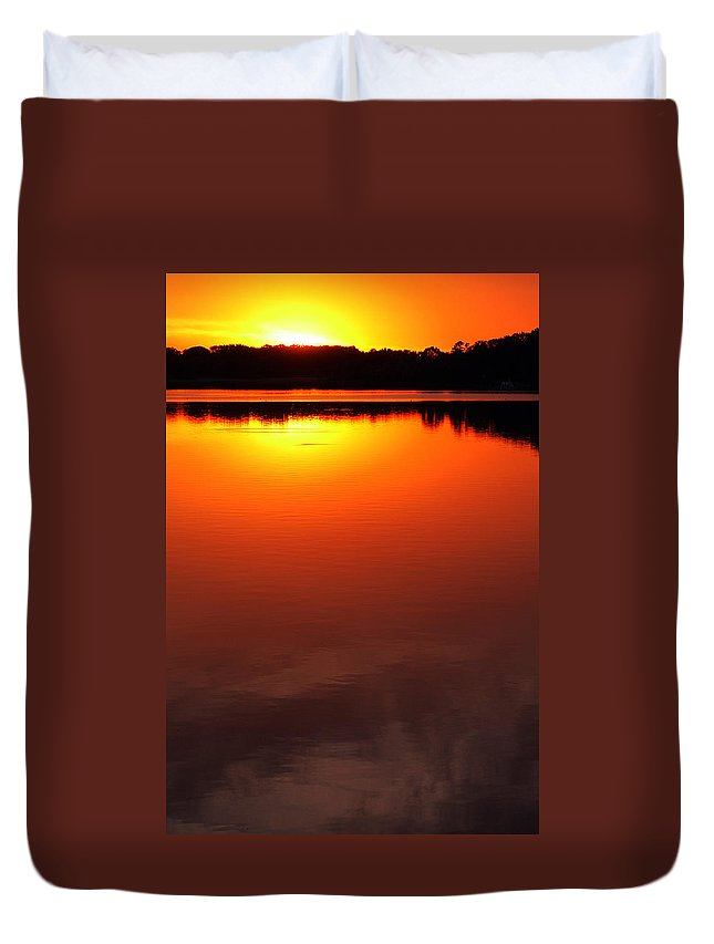 Clay Duvet Cover featuring the photograph Cloudy Sunset by Clayton Bruster