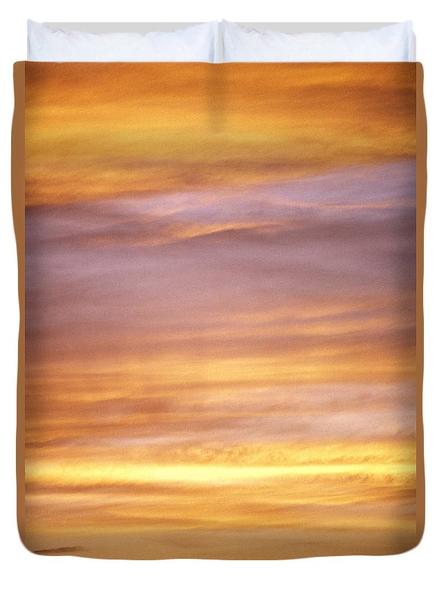 Afternoon Duvet Cover featuring the photograph Cloudy Sunset Sky by Carl Shaneff - Printscapes