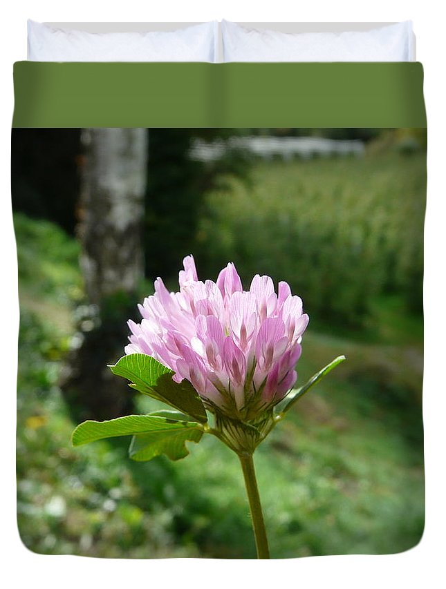 Red Duvet Cover featuring the photograph Clover 1 by Valerie Ornstein